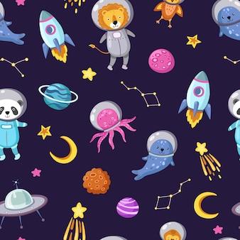 Raumtiermuster. nette tierbabys astronauten fliegen kind haustiere kosmonauten lustige raumfahrer junge nahtlose kosmos tapete
