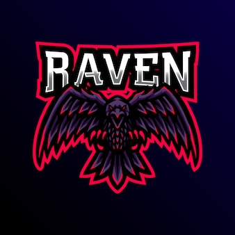 Raven maskottchen logo gaming esport iilustration.