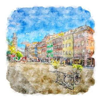 Ravensburg deutschland aquarellskizze handgezeichnete illustration