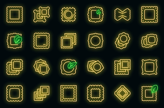 Ravioli icons set vektor neon