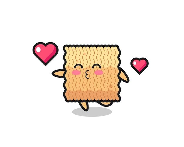 Raw instant noodle character cartoon mit küssender geste, süßem design für t-shirt, aufkleber, logo-element