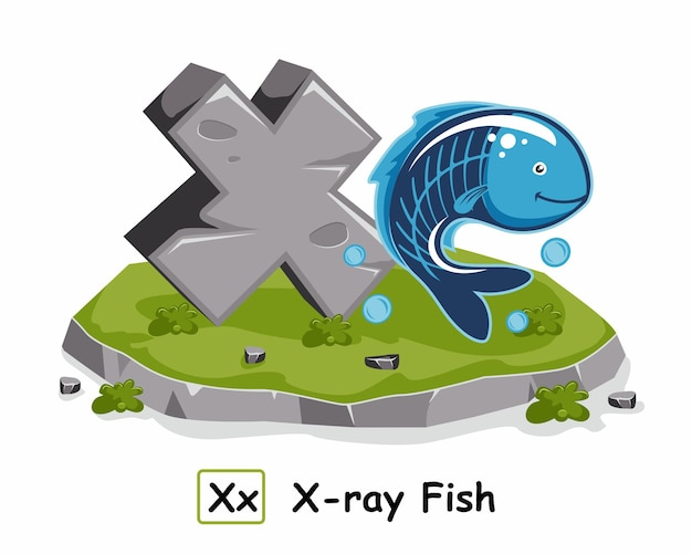 Ray fish rock stone alphabet tiere buchstabe x.