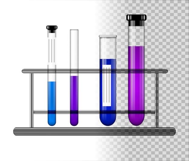 Reagenzgläser mit flüssigkeit auf einem glasständer.