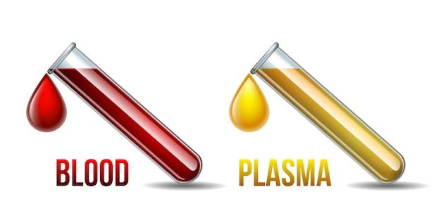 Reagenzglas mit blutstropfen und reagenzglas mit blutplasmatropfen. blutbestandteile. isoliert auf weißem hintergrund.