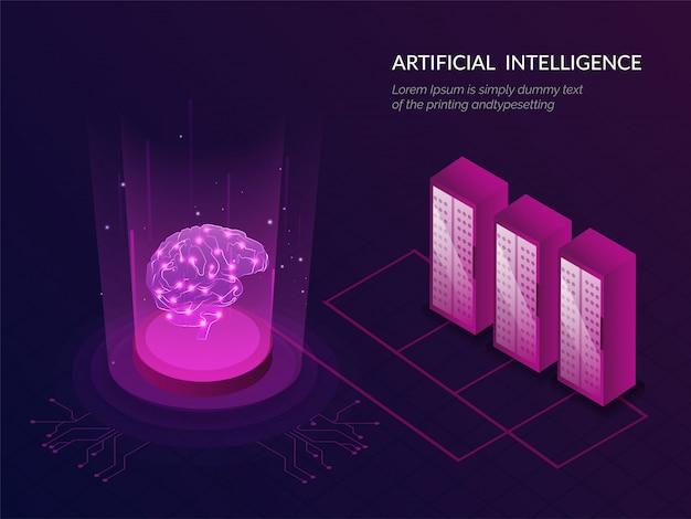 Reaktive web-vorlage der künstlichen intelligenz (ki).