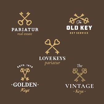Real estate abstract vector zeichen, symbole oder logo-vorlagen set mit verschiedenen gekreuzten schlüsseln emblems sammlung.