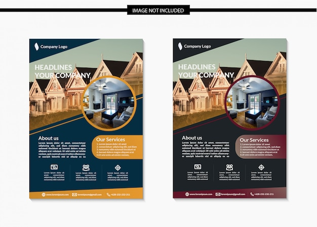Real estate flyer schablonendesign in a4