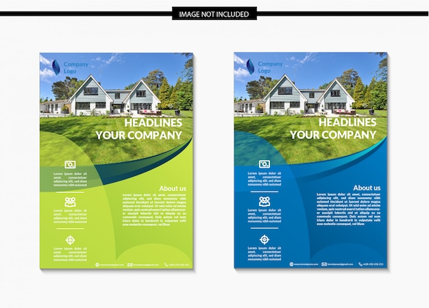 Real estate flyer schablonendesign in a4