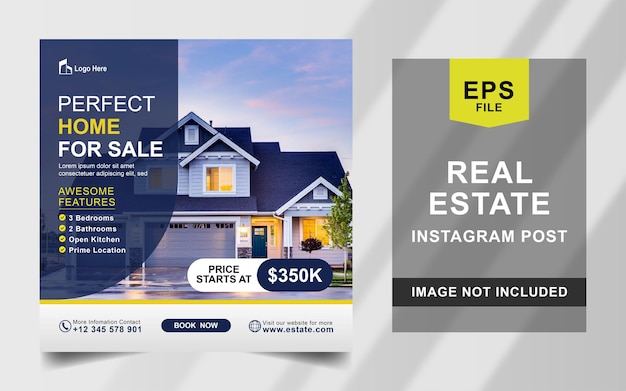 Real estate house instagram post square banner vorlage