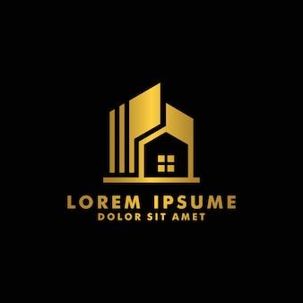 Real estate-logo, haus, hauptlogodesign-firmenzeichenvektor für geschäftsbau