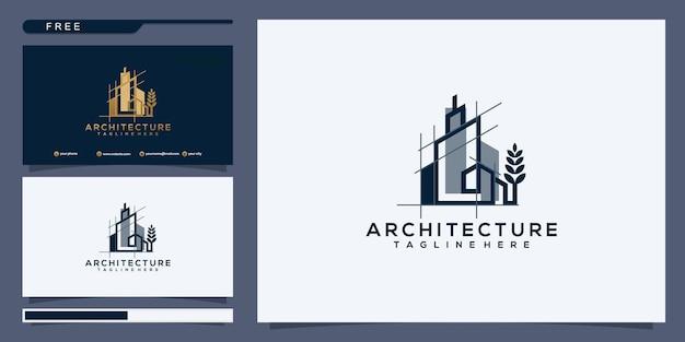 Real estate logo wolkenkratzer business abstrakte designvorlage linear