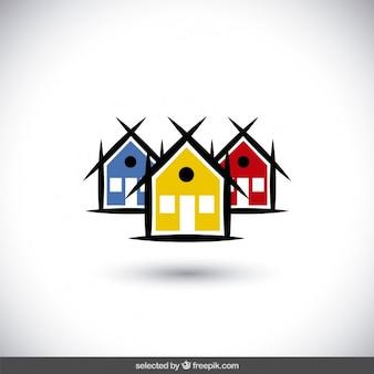 Real state-logo mit bunten häusern