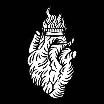 Realisctic heart drawing illustration