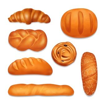 Realisierte ikone der isolierten brotbäckerei, die mit verschiedenen formen gesetzt wird und brotlaibillustration schmeckt