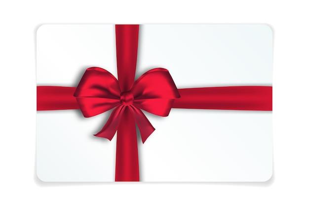 Realisitische geschenkkarte mit roter schleife und band