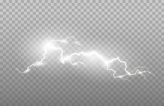 Realismus des blitzes und der hellen lichteffekte lokalisiert auf einem transparenten hintergrund. helle blitze und starker donner.
