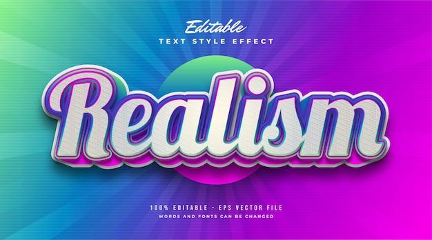 Realismus-text im bunten verlaufseffekt. bearbeitbarer textstileffekt