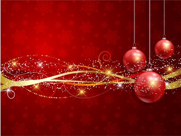 Realist weihnachtskugeln mit goldenen bändern hintergrund