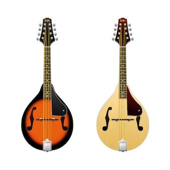 Realisticmandolin, volksmusikinstrument. mini-gitarre