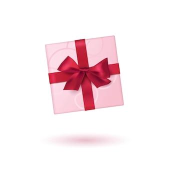 Realistisch aussehende geschenkbox. draufsicht.