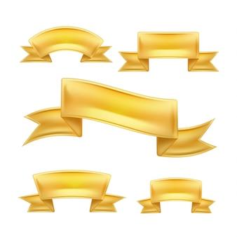 Realistisch detailliertes goldenes band scroll set