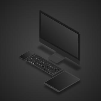 Realistisch eingestellter desktop-pc, tablet und smartphone.