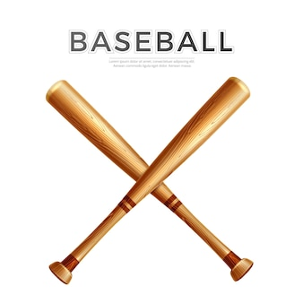 Realistisch gekreuzter baseballschläger. holzstäbchen