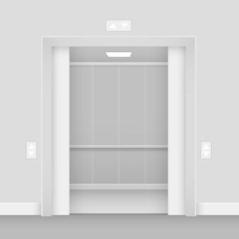 Realistisch geöffneter leerer innenraum der aufzugshalle