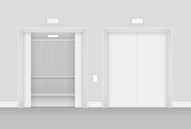 Realistisch geöffneter und leerer aufzug in der innenillustration der halle
