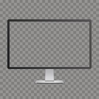 Realistisch geschwungenes tv-monitor-modell mit transparentem bildschirm