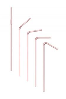 Realistisch gestreifte getränkestrohhalme isoliert, swizzle-stick-bündel, dünne öko-pfeife