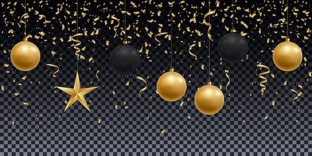 Realistisch glänzende goldene und schwarze kugeln, sterne und konfetti.