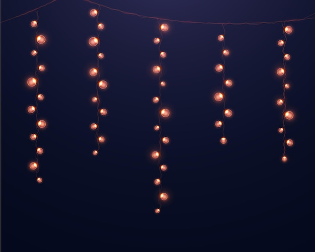 Realistisch leuchtende girlanden. leuchtende lichter für die gestaltung von weihnachtsfeiertagskarten.