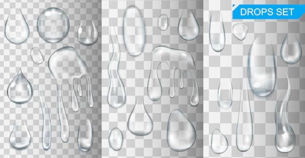 Realistisch leuchtendes wasser fällt und tropft auf transparente hintergrundillustration