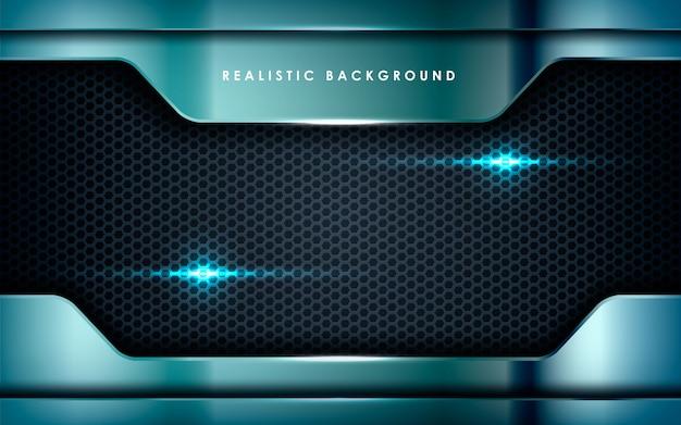 Realistisch metallic mit lichtern auf schwarz Premium Vektoren
