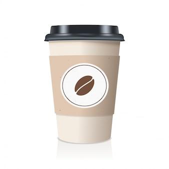 Realistisch nehmen sie papierkaffeetasse weg.