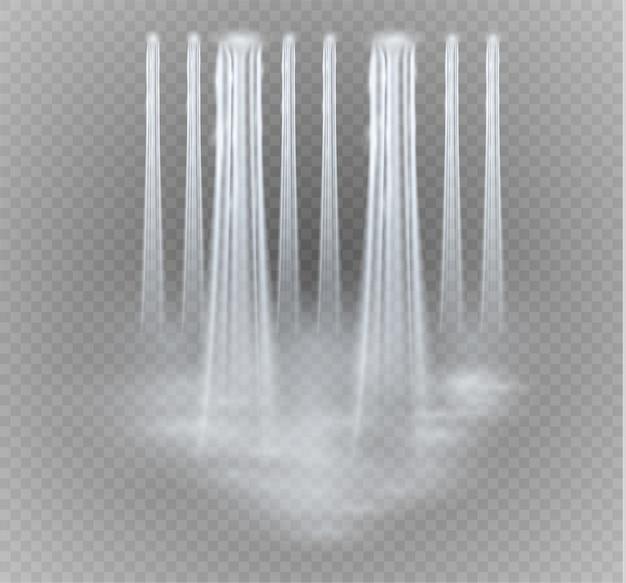 Realistisch transparent, natur, wasserfallstrom mit klarem wasser isoliert.