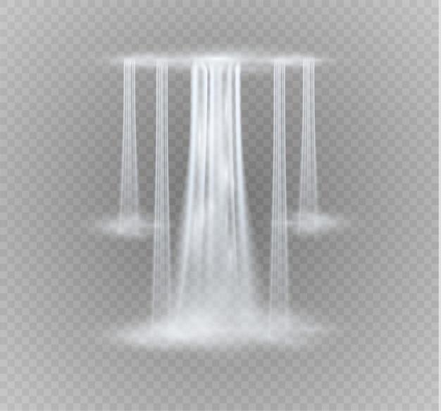 Realistisch transparent, strom des wasserfalls mit klarem wasser lokalisiert auf transparentem hintergrund.
