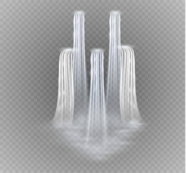 Realistisch transparent, strom des wasserfalls mit klarem wasser und blasen lokalisiert auf transparentem hintergrund.