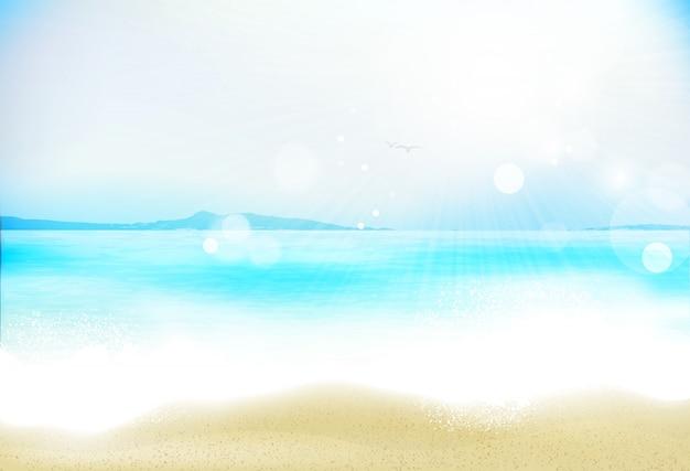 Realistisch unter wasser mit wolken und meer