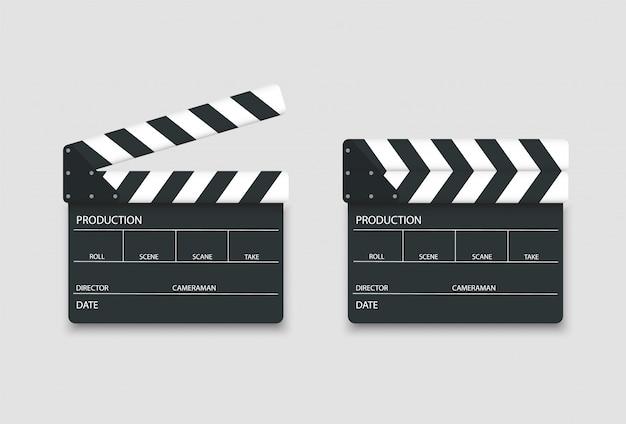Realistisch verlorene und geöffnete klappe. clapp board für film.
