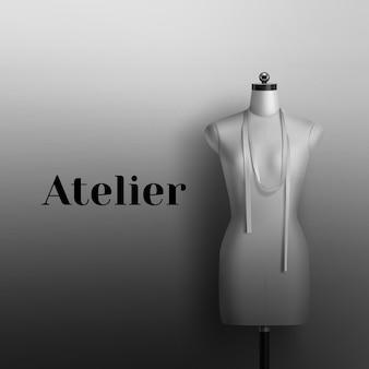 Realistisch von mannequin zum nähen atelier. schwarzweiss-zeichen