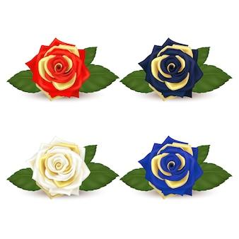 Realistisch von roten, schwarzen, blauen, weißen rosen, goldenen blütenblättern und grünen blättern isoliert.