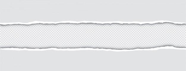 Realistisch zerrissene papierkanten mit schatten auf transparent