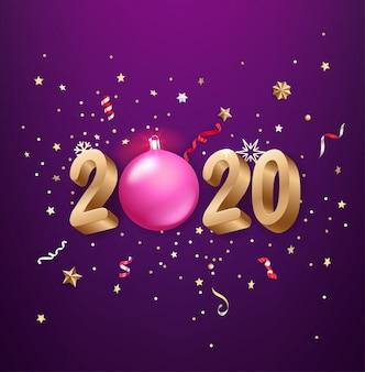 Realistische 2020 goldene zahlen, festliche konfetti, sterne und so weiter.