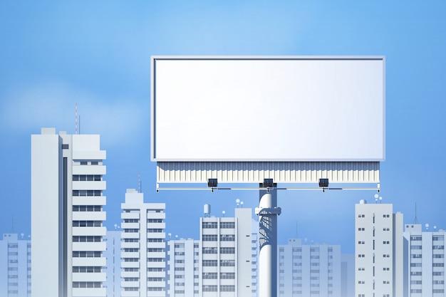 Realistische 3d anschlagtafel im freien auf stadtskylinehintergrund