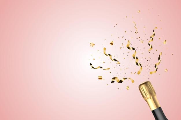 Realistische 3d-champagner-goldene flasche mit konfetti.