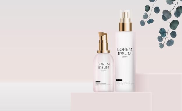 Realistische 3d-cremeflasche auf weißer seide mit perlendesignschablone des modekosmetikprodukts