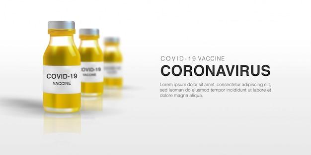 Realistische 3d-darstellung des impfstoffs für corona-virenzellen-schablonenhintergrund. neuartiges coronavirus (2019-ncov)