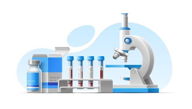 Realistische 3d-darstellung mit mikroskop, blutteströhrchen, coronavirus-impfstoffflaschenpackung vaccine